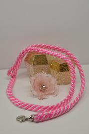 Hondenlijn, 12mm PPM, Neon Roze / Wit