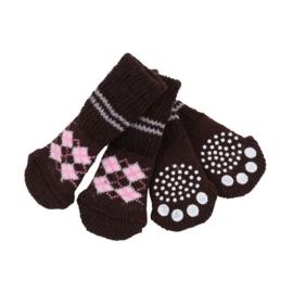 """Puppia sokken """"Argyle"""" bruin"""