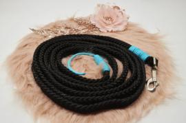 Halstertouw, Zwart /Turquoise met lintje 12mm PPM