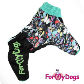 """ForMyDogs - Warm Overall Big Dogs, Female, Black """"Butterflies"""" - Mt B3"""