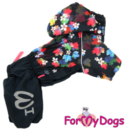 "ForMyDogs - Warm Overall, Female, black ""Leaves"""