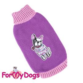 ForMyDogs - gebreide trui paars bulldog