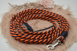 Halstertouw Oranje/Donkerblauw met lintje 12mm PPM