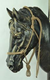 Touwhalster basic - pony - bruin gestreept