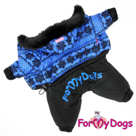 "ForMyDogs - Warm Overall, Male, Blue ""Snowflake"""