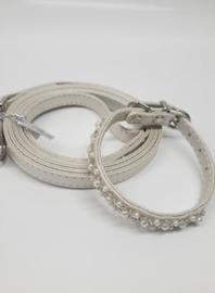 Croci- Vanity Pearls White  halsband + hondenlijn