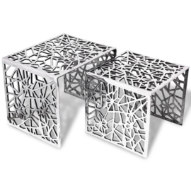 Bijzettafels zilver 49x39x40cm