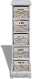 Opbergrek met manden Hout Wit 25 x 28 x 90 cm