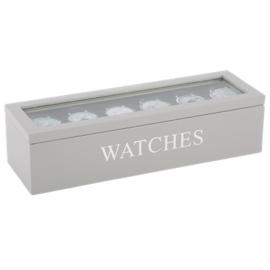 Horloge doos grijs zilveren letters