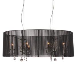 Hanglamp Merel 6 lichts + zwarte ovale kap