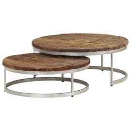 Salontafel set metaal en hout