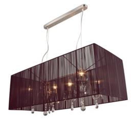 Hanglamp Merel rechthoek 6 lichts + donkerbruine