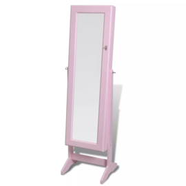 Spiegel met sieradenkast Roze 146 x 37 x 46 cm
