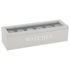 Horloge doos wit en zilveren letters