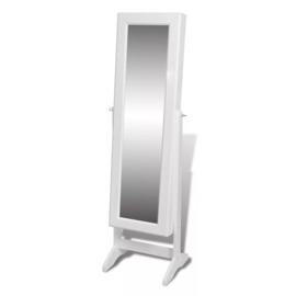 Spiegel met sieradenkast Wit 40 x 36 x 146 cm