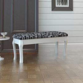 Bankje zwart wit 110x36x46cm