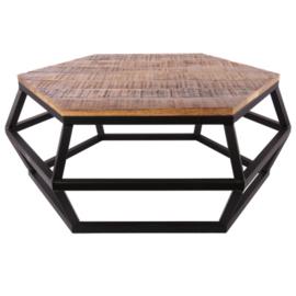 Salontafel 100x85x42 cm mat zwart + ruw mangohout