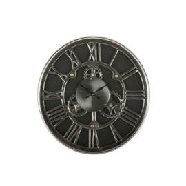 Klok zwart zilver 35cm