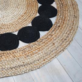 Carpet Jute Naturel zwart Ø125 cm