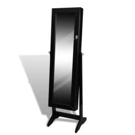 Spiegel met sieradenkast zwart 146 x 37 x 46 cm