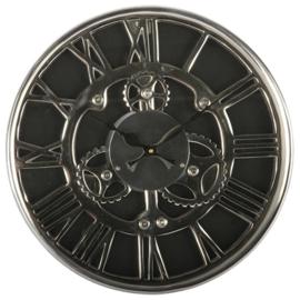 Klok chroom zwart en zilver 46cm