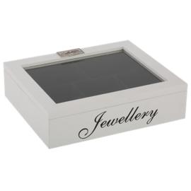 Juwelen doos wit en zwarte letters