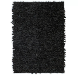 Vloerkleed Hoogpolig Leer 160x230 Zwart
