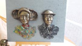 zeeuws echtpaar bronskleurig op canvas
