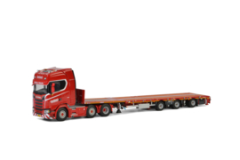 KNT Red Line; SCANIA S HIGHLINE CS20H 6x2 MEGATRAILER FLATBED - 3 AXLE