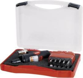 """RUKO Pneumatische slijper 1/4"""" (6.3 mm) 6.2 bar Incl. accessoires, Incl. koffer"""