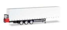 Schmitz Curtain canvas trailer, 3-ssig met forklifter  Herpa