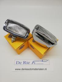 Hella Bumper/dak oldskool lampen 11x5,5cm , 12V/21W , Wit-Chroom , prijs per stuk