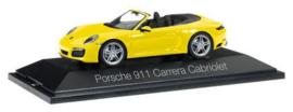 Porsche 911 Carrera cabrio, geel (991 II) Herpa