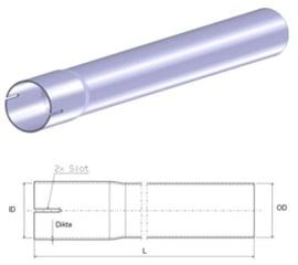 Uitlaatpijp recht 42 mm