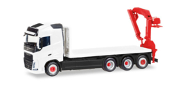 Herpa MiniKit: Volvo FH Gl. 4 axle flat truck with loading crane, white