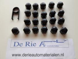 Wielmoerkapjes 17 mm Zwart