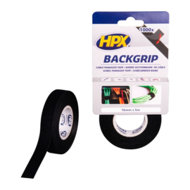 HPX Backgrip - kabelbinderband - 16 mm x 5 m zwart