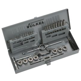 Set handtap en snijpaat M3-12 PV12 met wringijzer, snijplaathouder en tapkruk