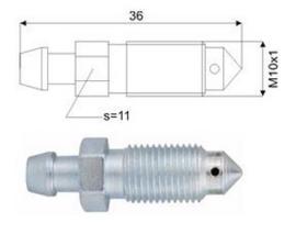 Ontluchtingsnippel M10x 1x36.0