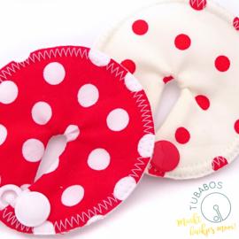 """""""Polka dots rood en wit"""" set van 2 g/j sondepads"""