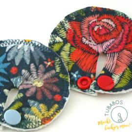 """""""Embroidery Flower Print"""" set van 2 g/j sondepads"""