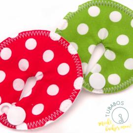 """""""Polka dots rood en groen"""" set van 2 g/j sondepads"""