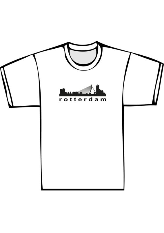Skyline rotterdam txt yes - zwarte print