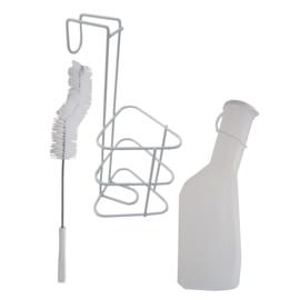 Urinaalset man (urinaal, houder en borstel)