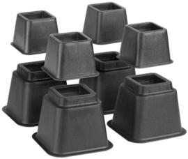 Bedverhogers / Meubelverhogers ZWART. Instelbaar tussen 8, 13 en 21 cm