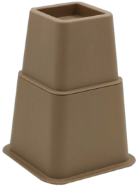 Bedverhogers / Meubelverhogers BRUIN. Instelbaar tussen 8, 13 en 21 cm