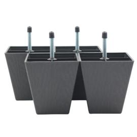 Vierkante meubelpootjes 10 cm (per 4) M8