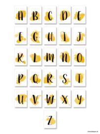 ABC kaartjes A6 Okergeel