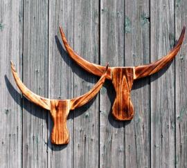 Houten Buffalo hoofd bruin S