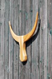 Houten Buffalo hoofd naturel S